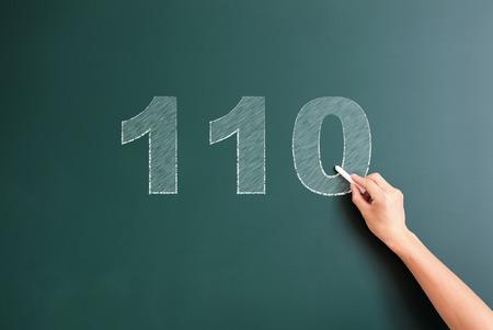110 written on blackboard photo