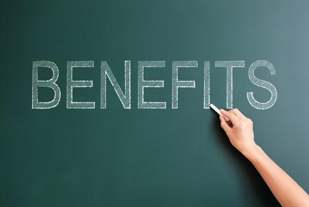 benefits written on blackboard photo