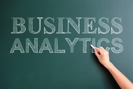 business analytics written on blackboard photo