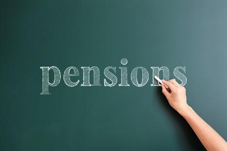 pensions: pensions written on blackboard