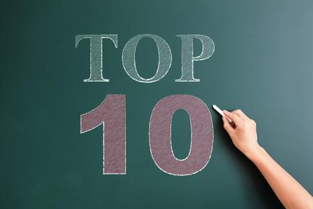 top 10 written on blackboard photo
