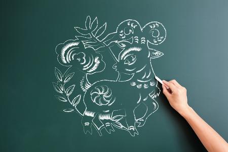 drawed: sheep cartoon drawed on blackboard Stock Photo