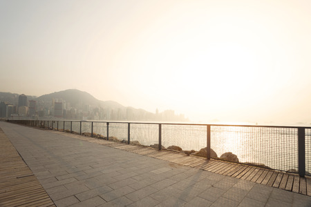 beach scene: skyline and coastline of Hong Kong, china