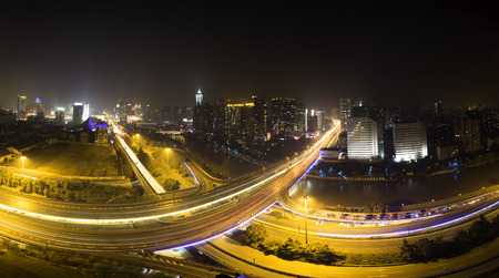 panoramic skyline and traffic,flyover in modern city photo