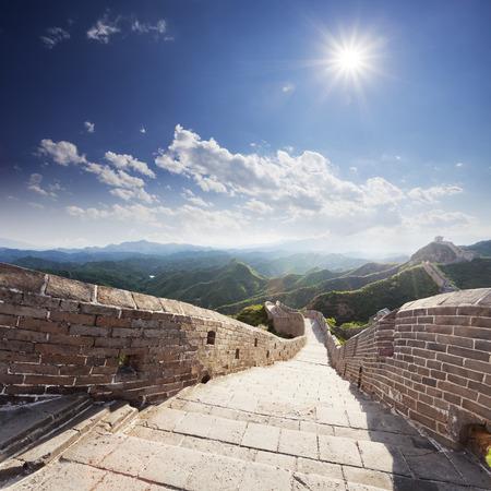 simatai: landmark of china,great wall during sunset