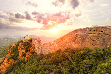 landmark of china,great wall during sunset