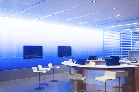 Boardroom meeting: Modern video webinar conference room interior Editorial