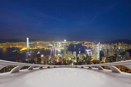 hong kong night: Empty viewing deck with Hong kong night scene Stock Photo