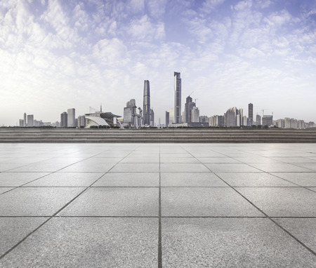 city center: modern square with skyline and cityscape background