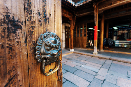 knocker: tradtional chinese door with knocker