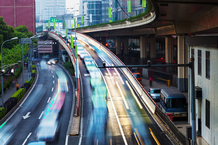 traffic jams: crowed and fast traffic jams on expressway Stock Photo