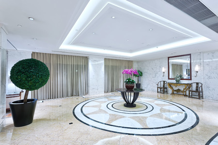 hotel luxury lobby hall with decoration and furniture.