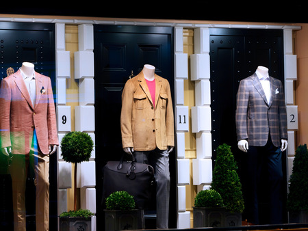 window display: Fashion shop display window with mannequins