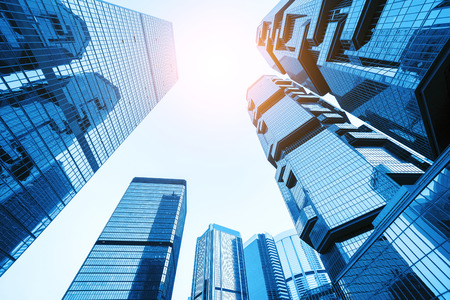 low angle view of skyscrapers in modern city Stock Photo
