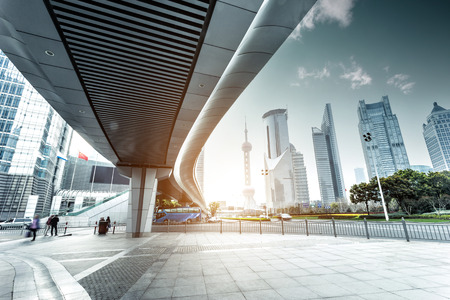 architecture: urban road and modern city skyline Stock Photo