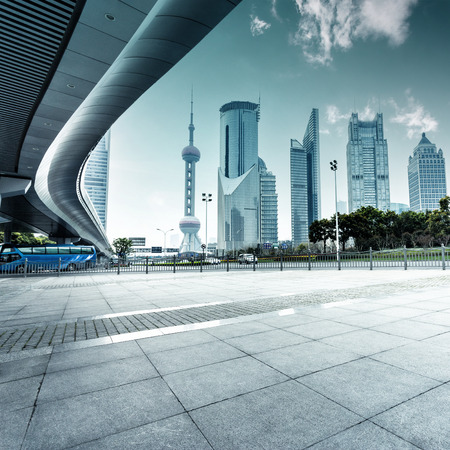 shanghai skyline: urban road and modern city skyline Editorial