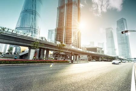 urban road and modern city skyline Stock Photo