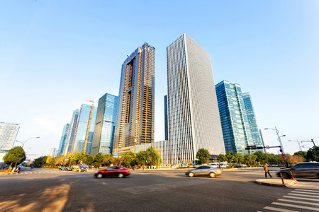 office buildings and modern street Stock Photo