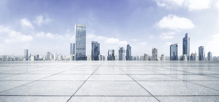 city panorama: Empty floor with modern skyline and buildings Stock Photo