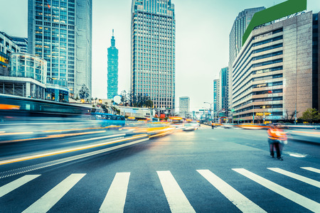traffic blur motion in modern city street Stock Photo - 39929842