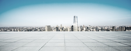 ground floor: Empty floor and modern city skyline Stock Photo
