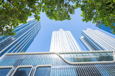 low  angle: low angle view of modern office building Stock Photo
