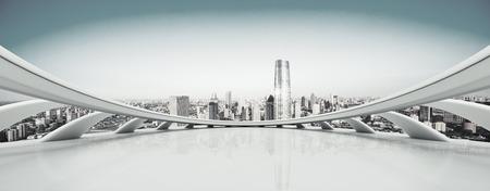 Empty floor and modern city skyline Stock Photo