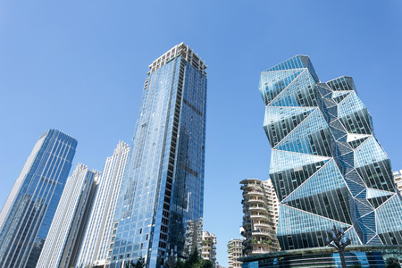 low  angle: low angle view of skyscrapers