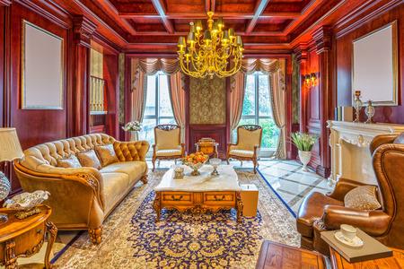 luxury living room: luxury living room interior and decoration Editorial