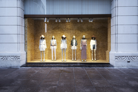 shop window: mannequins at shopfront