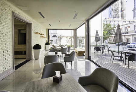 bar interior: modern coffee bar interior