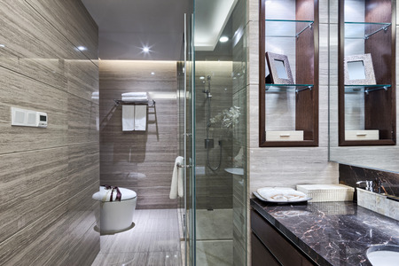 bathroom design: Luxury hotel bathroom interior and upscale furniture with modern style decoration