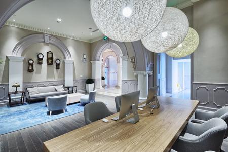 luxe lobby in modern hotel