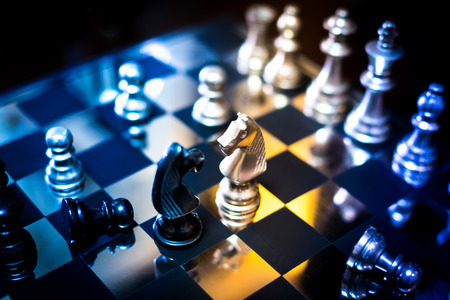 strategic focus: chess and board closeup