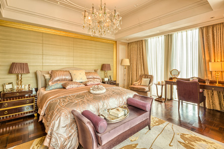 bedroom: luxury hotel bedroom with upscale furniture and modern style decoration