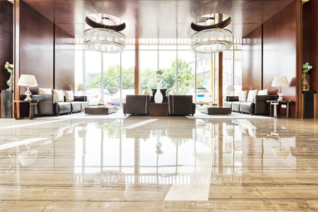 hotel room door: luxury hotel lobby and funiture Editorial