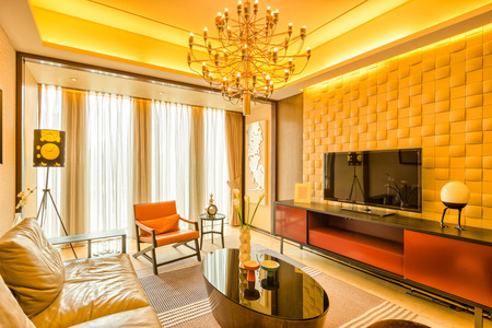 upscale: luxury living room and furniture with upscale design and decoration Editorial