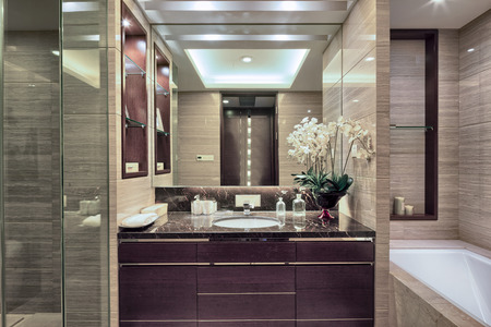 bathroom mirror: Luxury hotel bathroom interior and upscale furniture with modern style decoration