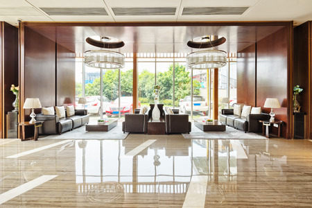 shiny metal: luxury hotel lobby and funiture Editorial