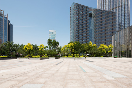 Empty square and modern office building
