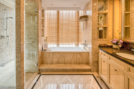 upscale: Luxury hotel bathroom interior and upscale furniture with modern style decoration