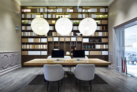 office entrance: luxury lobby in modern hotel Editorial