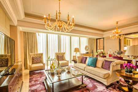 luxury living room and furniture with upscale design and decoration Editorial