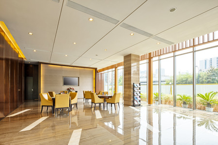 shiny floor: luxury hotel lobby and funiture Editorial