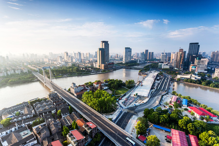 brige: panoramic high angle view of cityscape at riverbank Stock Photo
