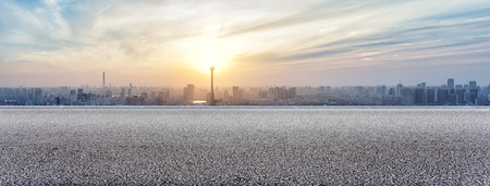 Panoramic skyline and buildings view with empty road Reklamní fotografie - 41614520