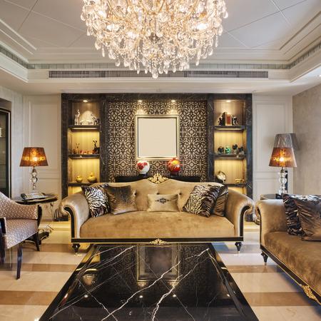 case moderne: interni di lusso soggiorno Editoriali