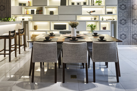 dining table and chairs: luxury dinning room interior