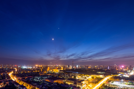 illuminated: Illuminated skyline and cityscape