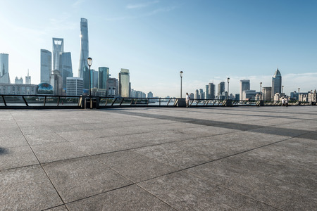 panoramic skyline of shanghai with empty street floor 스톡 콘텐츠
